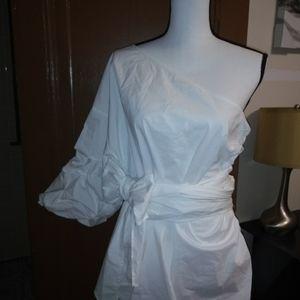 NWT one shoulder blose w/belt tie